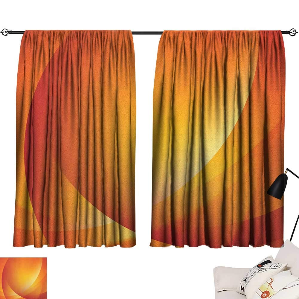 Pattern04 W72  x L72  Beihai1Sun orange décor Darkening Curtains Kids Theme Cute Girlish Pattern with Doodle Flowers and Green Leaves Curtain for Kids Room orange Apple Green Yellow W63 x L45
