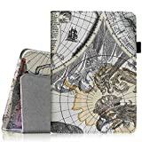 Fintie Folio Case for Fire HD 6 - Slim Fit Vegan Leather Standing Protective Cover with Auto Sleep/Wake Feature (will only fit Amazon Kindle Fire HD 6, 6-Inch HD Display Tablet 2014 Release), Map White
