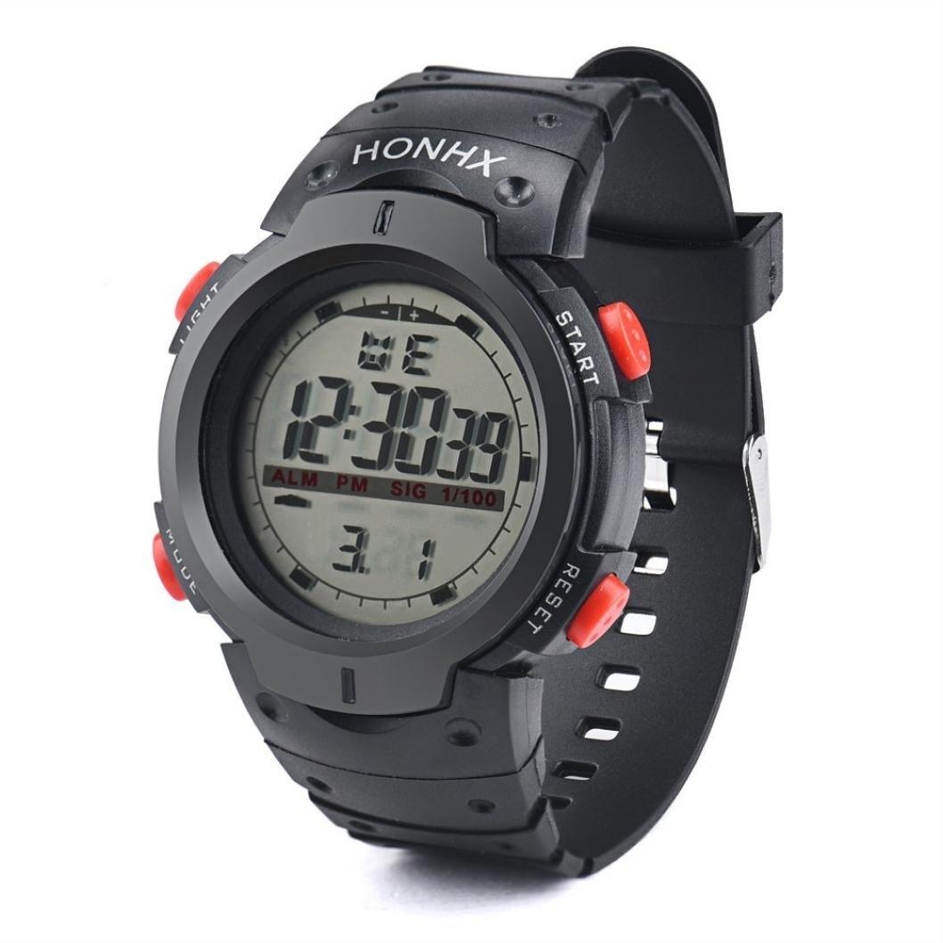 Sansee Wasserdichte Outdoor Herren LED Digital Stoppuhr Datum Gummi Sport Armbanduhr-HONHX elektronische Großbild-Uhren 9040-1 (Rot)