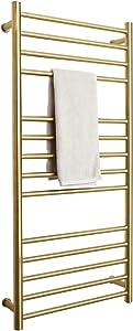 BERGOTO Towel Warmer Rack Home Bathroom 14 Bar Stainless Steel Space Saving Plug-in Wall Mounted Cloth Towel Heated Drying Rack Gold/Black (Gold)