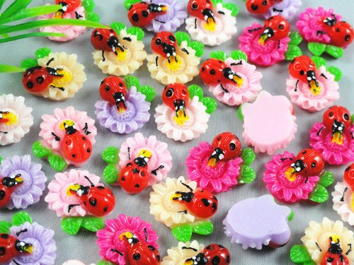 50pcs Resin Flatback Ladybug Flower the Scrapbooking DIY Craft Applique