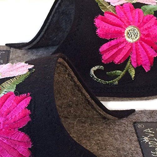 38 Fieltro Negro Flower Pink Pantoffeldiva nbsp;– Zapatillas De nbsp;mujer Diva Bordado Tamaño nbsp;– Merino Zapatillas Unisex nbsp;42 v6nR8FqH