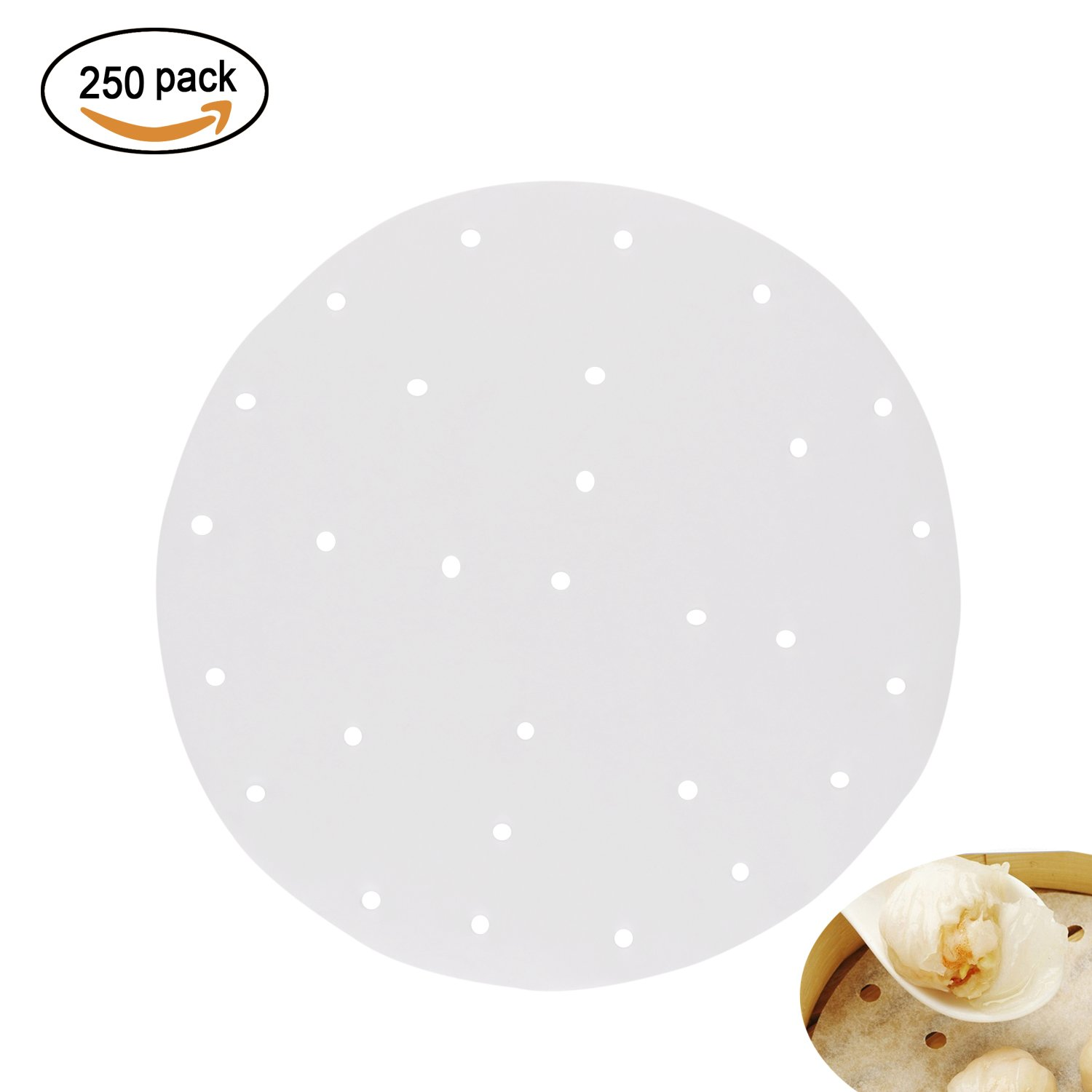 250pcs Perforated Parchment Round Bamboo Steamer Paper Liners,9 Inch In Diameter Suitable for Air Fryer,Cooking, Steaming Basket, Vegetables, Dim Sum,Rice