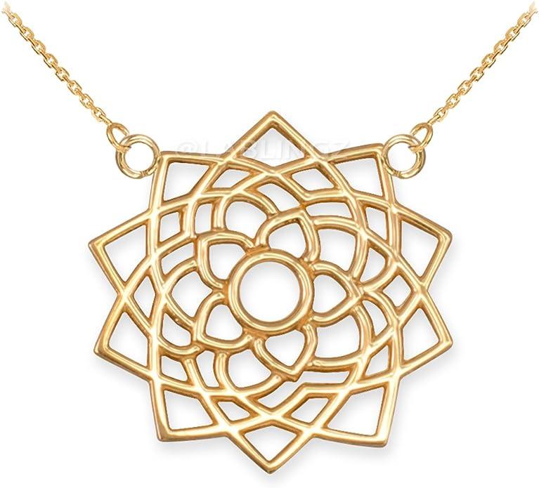 Hindu Jewelry by LABLINGZ 14K White Gold Sahasrara Unity Chakra Open Lotus Necklace