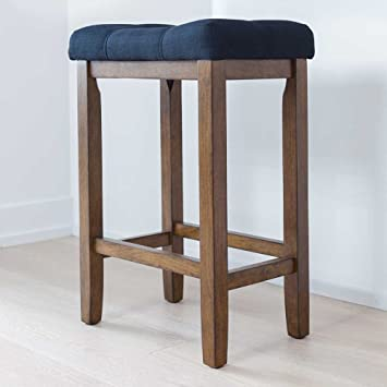 Amazon.com: Wood Kitchen Counter Bar Stool - Backless Upholstered ...