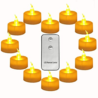 Micandle Pack of 12 Remote Control Tea Lights Yellow with CR2450 Long Lasting Battery Operated 120 Hours+ Flameless Candle Flickering Light for Wedding Thanksgiving Christmas Party Festival Decoration: Home Improvement