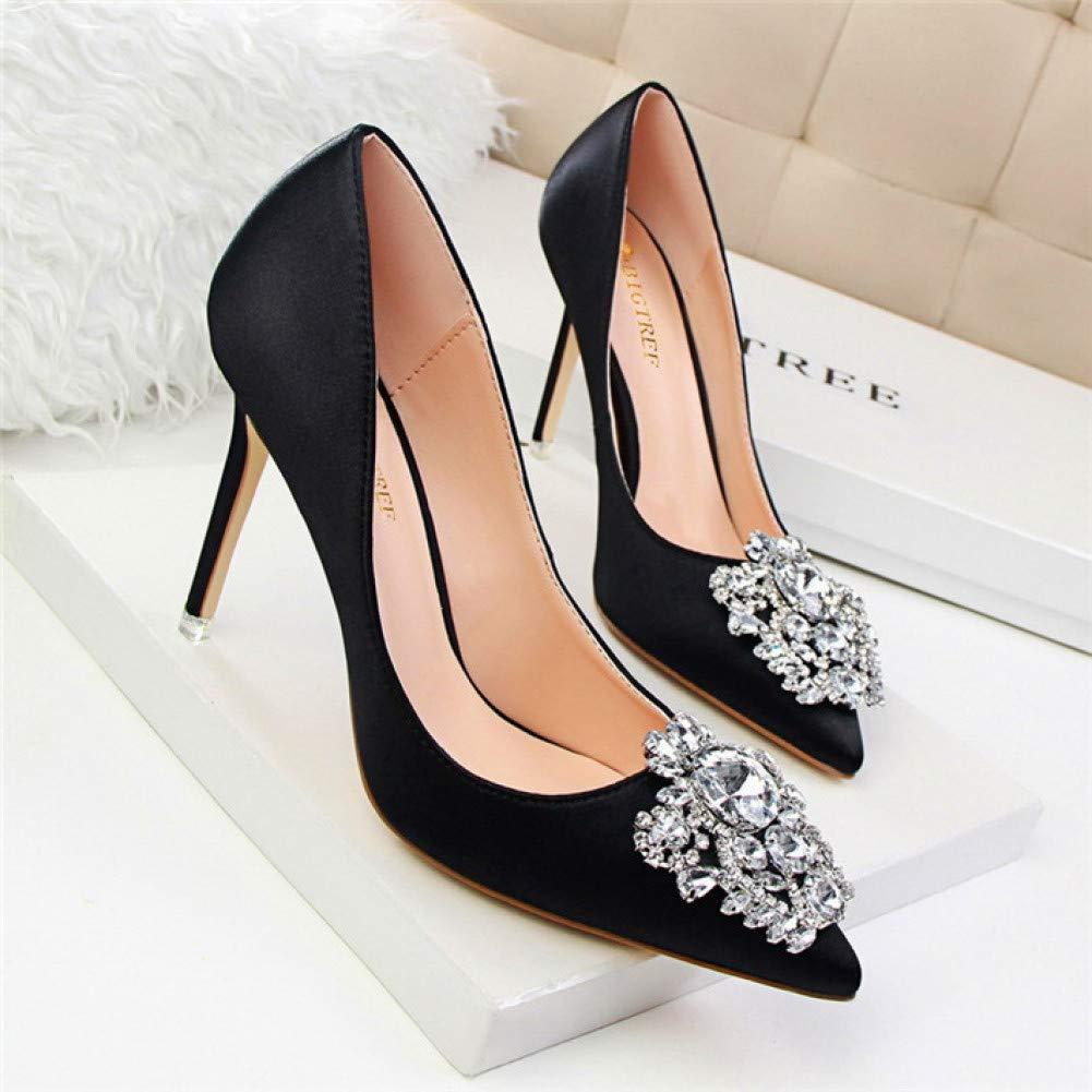 XSY Spitz Frauen Pumpt Mode Kristall Solide Seide Flache High Heels Schuhe Frauen Hochzeit Schuhe  | Angemessener Preis
