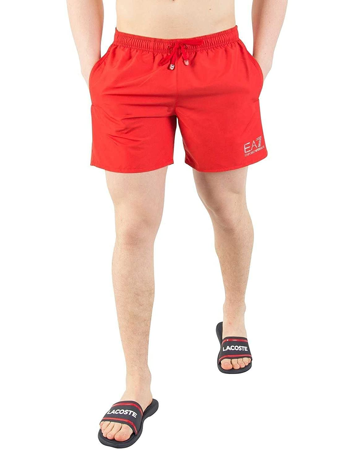Emporio Armani EA7 Men's Swim Shorts, Red/Silver