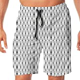 Haixia Man Summer Board Short Abstract Monochrome Lines and Dots Abstract Image