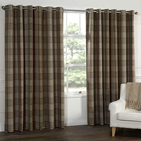 WOOL Touch Heavy Lined TARTAN Tweed Plaid Curtains Red Natural PATIO LIVING  This Size : 66x90u0026quot