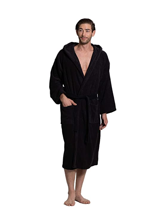 Turkuoise Men's Turkish Terry Cloth Robe, Thick Hooded Bathrobe best men's bathrobes