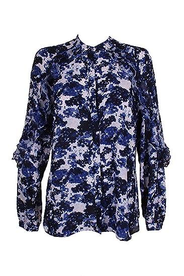 5c52c03a8 Amazon.com  LAUREN RALPH LAUREN Womens Kyleigh Ruffled Floral Print Button- Down Top Blue XS  Clothing