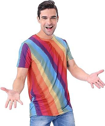 COSAVOROCK Disfraz de los años 71 Retro para Hombre Arcoíris Camiseta (XXL, Arcoíris): Amazon.es: Ropa y accesorios