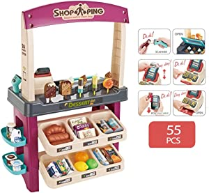 Kids Role Play Ice Cream Shop Toy Set,Children Shopping Toys Playset 55 Pieces Luxury Grocery Store with Scanner,Educational Ice-Cream Trolley Truck Great Gift for Girls and Boys (MulticolorA)