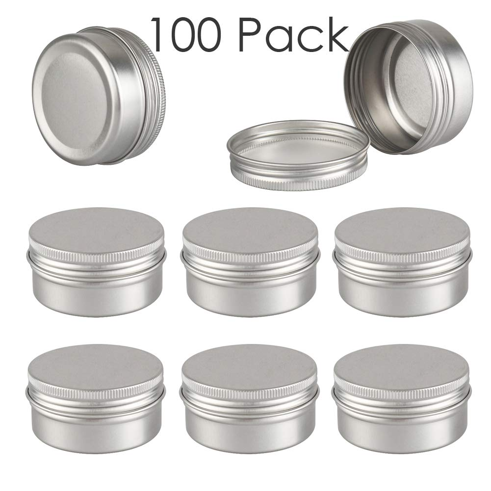 DLIBUY (Pack of 100) 50ml Empty Silver Aluminum Tins Cans With Screw Lid-Travel Containers For Lip Balm Cream Candles Nails Samples