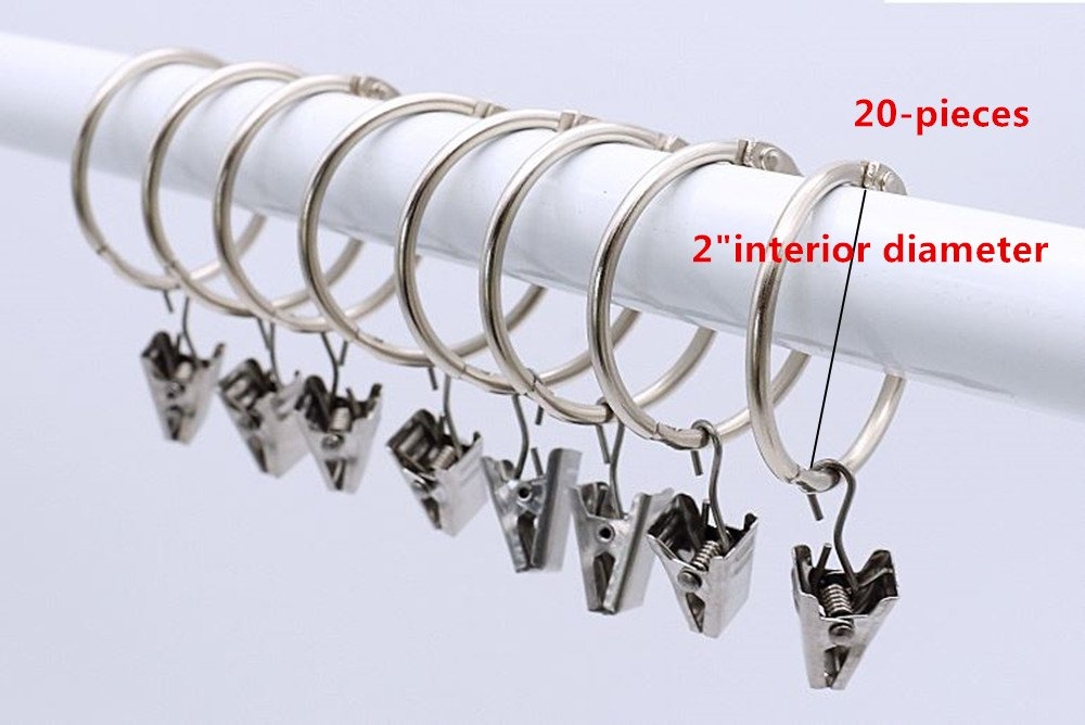ZYMY 3 inch Interior Diameter Open and Close Solid Metal Curtain Ring Hook Rustproof,Movable Clasp Suitable Fixed Pole Shower Curtain Rings//Strong Hooks Set Silver