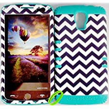 Cellphone Trendz Heavy Duty High Impact Hybrid Rocker Case Cover for LG Volt LS740 F90 – Teal Silicone With Hard Black And White Chevron Design