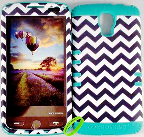 Cellphone Trendz Heavy Duty High Impact Hybrid Rocker Case Cover for LG Volt LS740 F90 - Teal Silicone With Hard Black And White Chevron Design