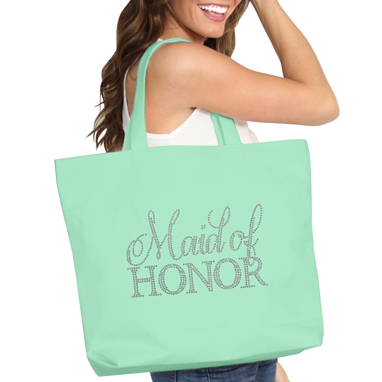 rhinestone maid of honor tote bag bridal shower gift idea bachelorette favor