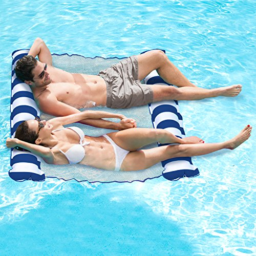 Aqua Catalina Inflatable Hammock, 2 Person Pool Float, Navy Water Lounge, Holds 250 lb