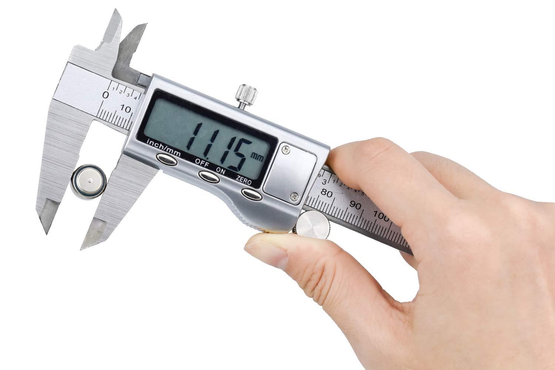 HENTEK Digital Vernier Caliper 150mm 0-6 Inch Stainless Steel LCD Display Digital Ruler Digital Precision Tool Vernier Caliper Waterproof for Home and Industrial Measurement