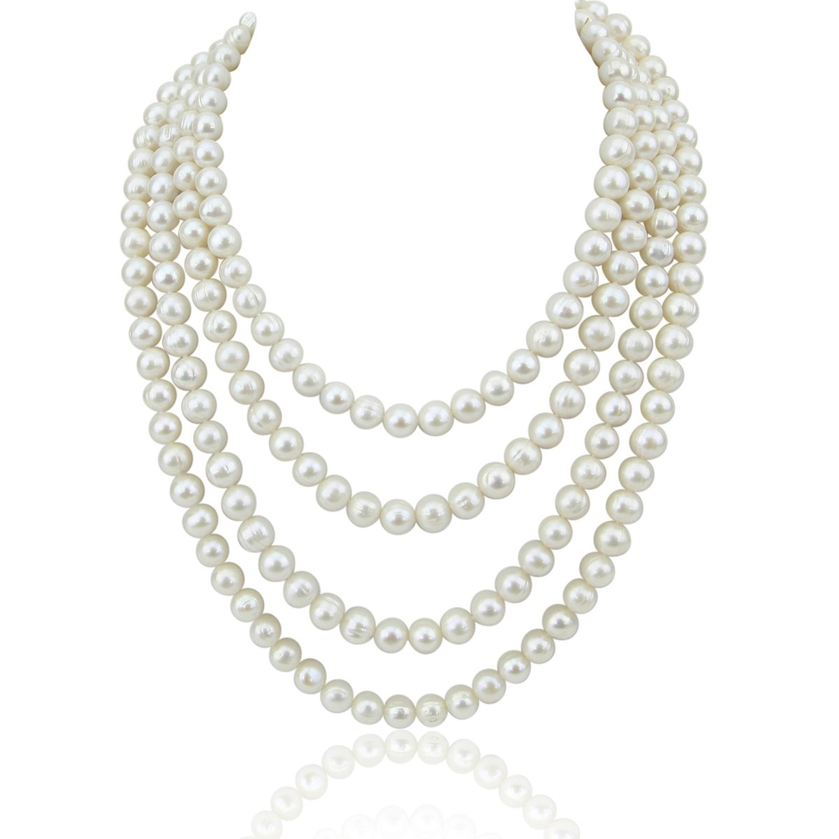 82 Handpicked 8.5-9.5 mm Lustrous White Circl?Baroque Freshwater Cultured Pearl Endless Necklace