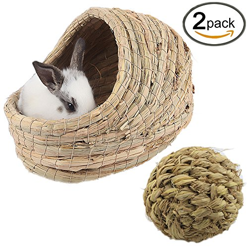 Kathson Woven Grass Pet Bed and Activity Ball Toys – Hand-made with Natural Grass : Lightweight, Durable, Safe & Comfortable for Rabbits, Chinchillas, Guinea pigs & Other Small Animals