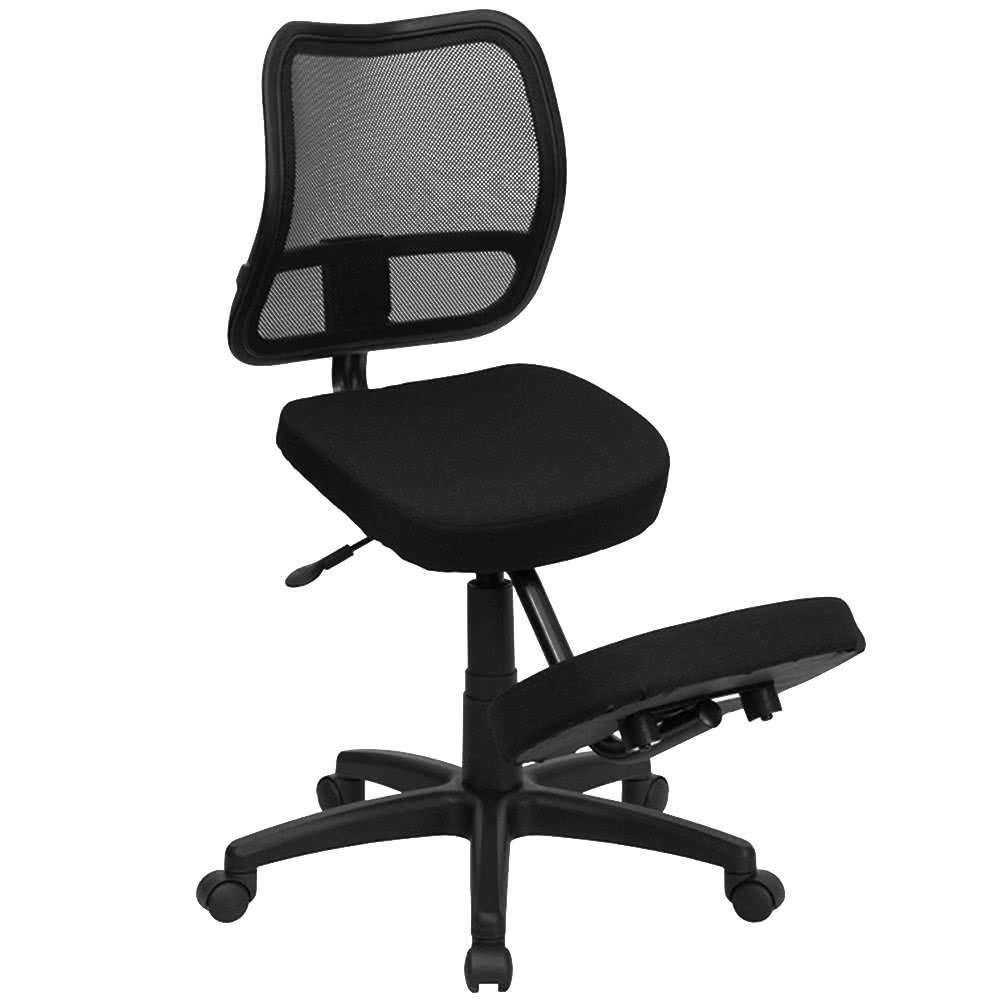Black Ergonomic Mobile Kneeling Office Chair with Nylon Frame, Swivel Base, and Curved Mesh Back Rest By TableTop king