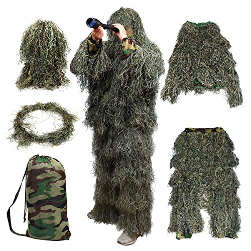 Goetland 5pcs Camo 3D Ghillie Suit Kit Camouflage Clothing Woodland Forest Tactical