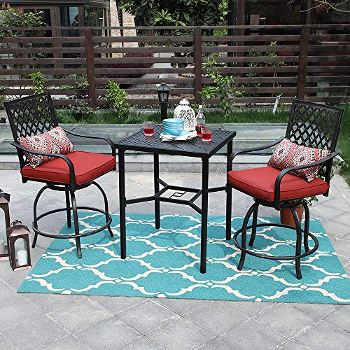 Outdoor Bistro 3 Set Bar Height 3 Piece Patio Set, 2 Swivel Chairs and 1 Metal Top Table,Seat Cushions,Adjust Screw Feet