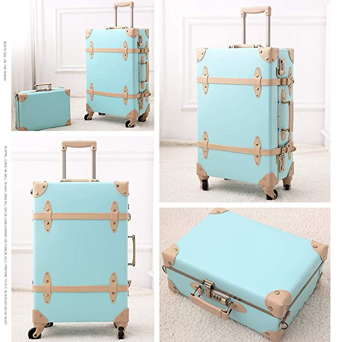 Suitcases Set Lightweight Trolley Cute Retro 20 Travel Mint Green Vintage Trunk For Women Style Luggage Sets eWQCBoxrd