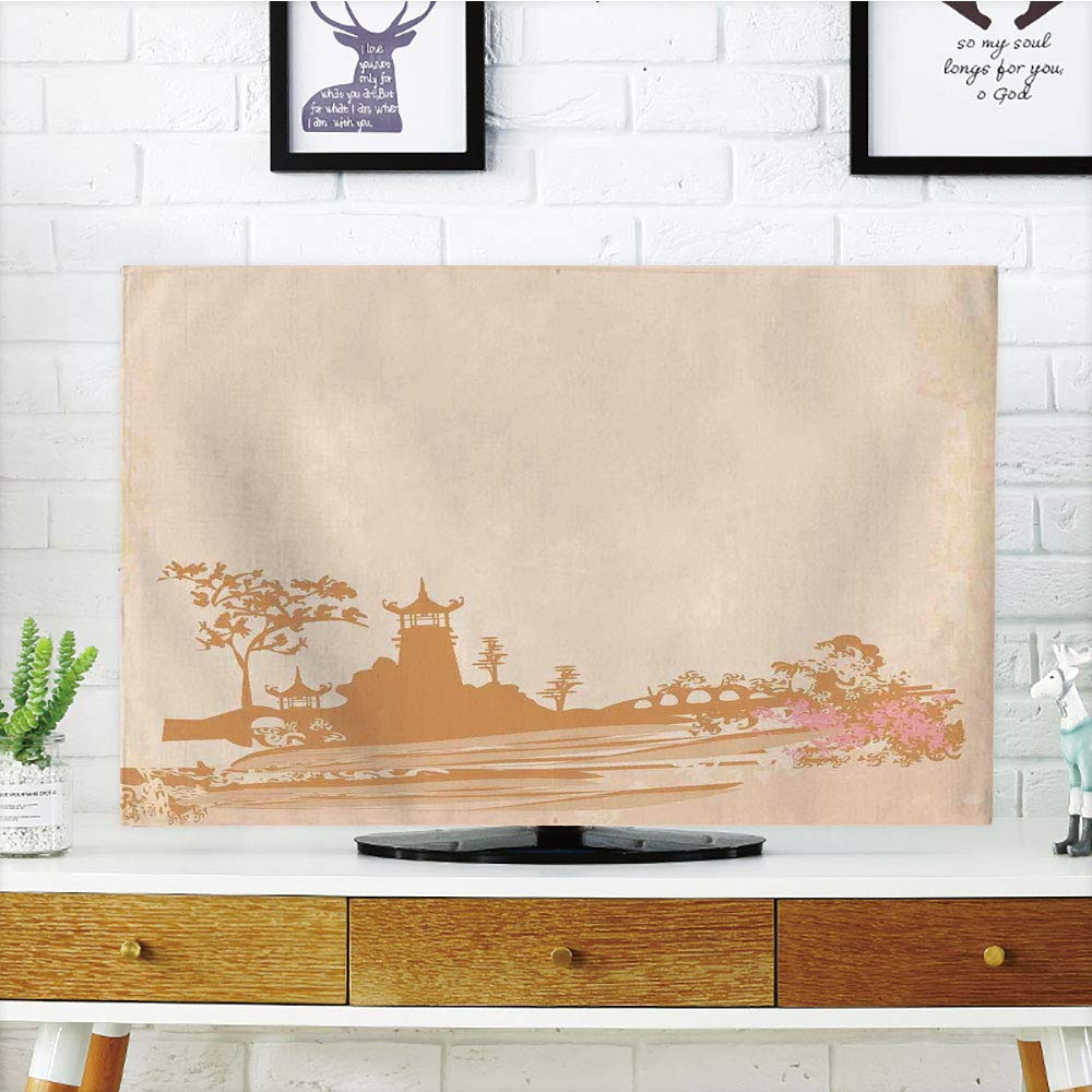 Amazon com: LCD TV dust Cover,Asian Decor,Old Temple