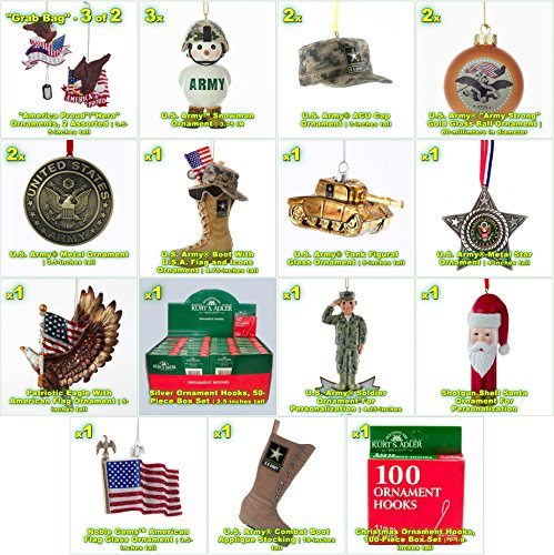 JZ Bundles Large Set - Army - Kurt Adler - 22-Piece Bundle - A Bundle of Christmas Ornaments Great Gift by JZ Bundles (Image #1)