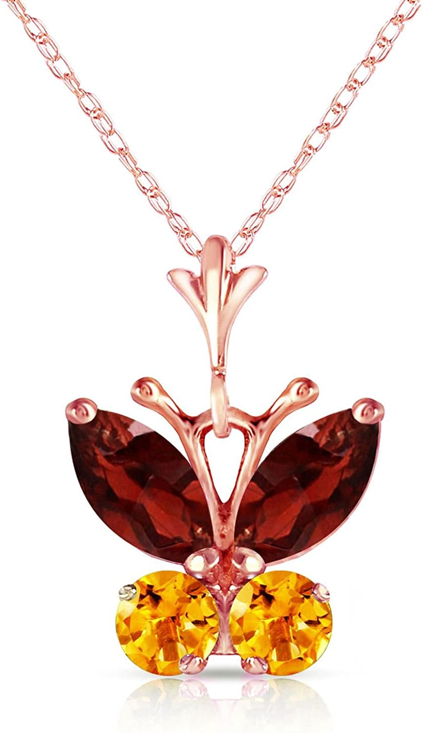 ALARRI 14K Solid Rose Gold Butterfly Necklace w// Citrines with 24 Inch Chain Length