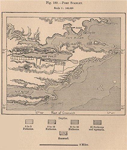 (Port Stanley. Falkland Islands - 1885 - Old map - Antique map - Vintage map - Printed maps of Falkland Islands)
