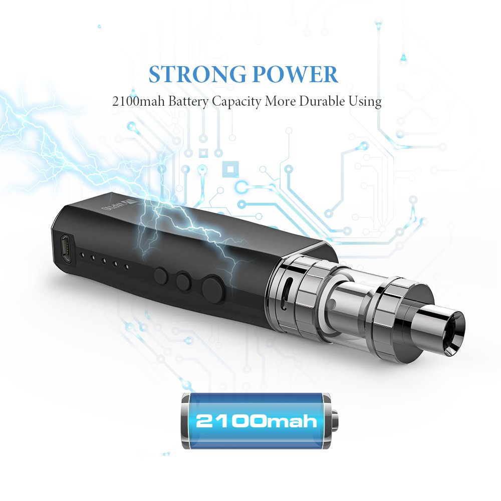 Imecig 50W Ecig Vape Starter Kit batería 2100mAh incorporado/Sub Ohm 0.25/TPD 2 ml atomizador Tank Box Mod Kit de cigarrillo electrónico, sin nicotina ...