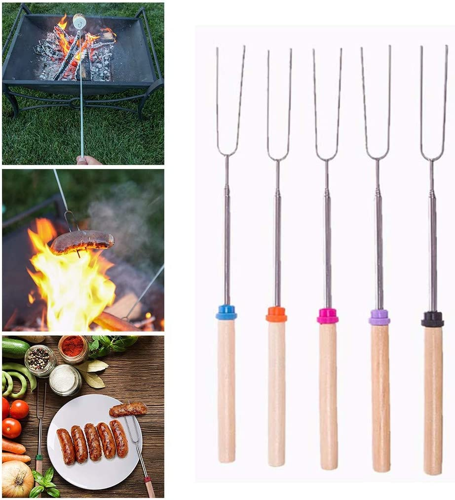 UKtrade/® Barbecue Forks Marshmallow Roasting Sticks Extendable Stainless Steel Hot Dog Fork with Wooden Handle Grilling Smores Skewers for Camping Campfire Party Picnic Meal Buffet