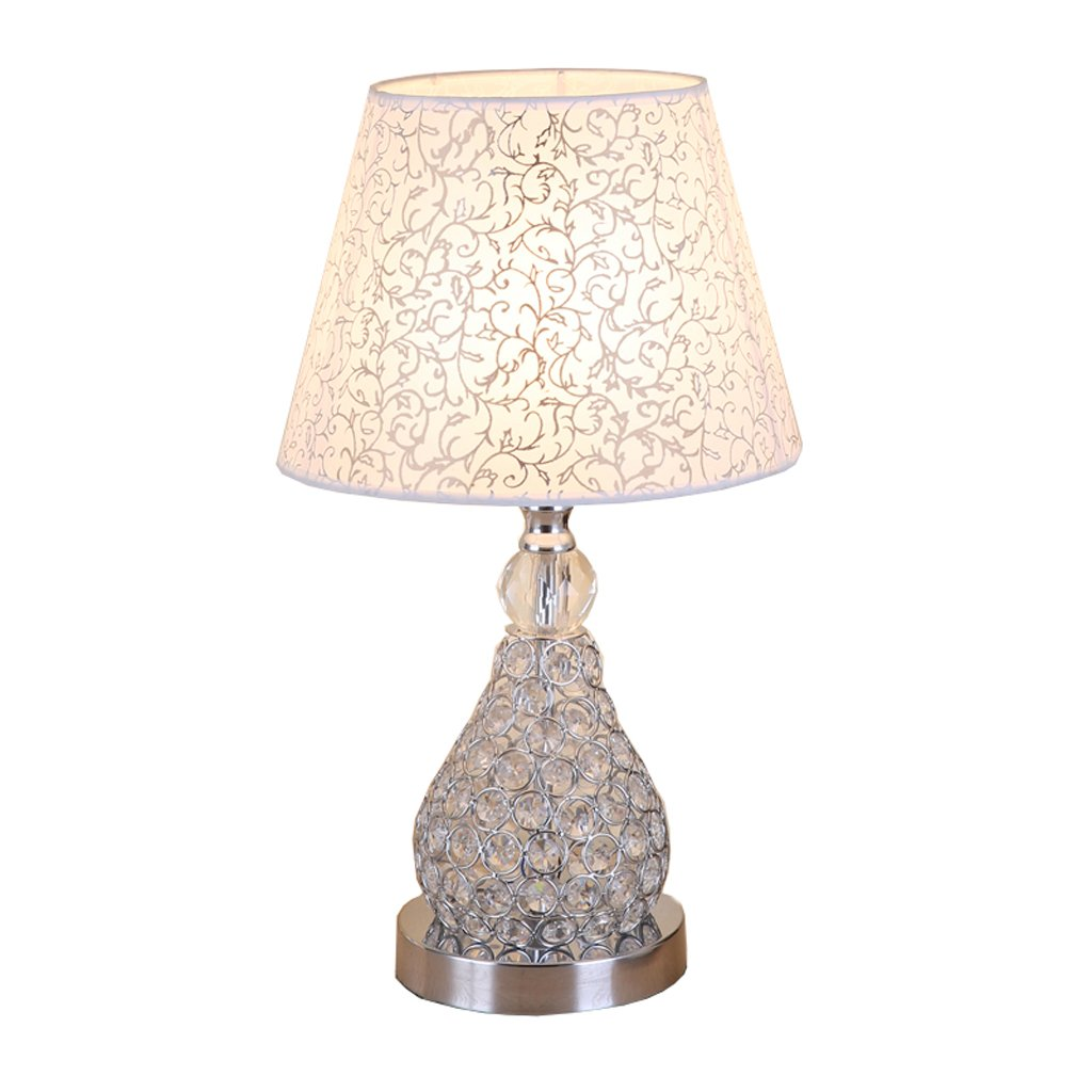 HUACANG European Luxury Crystal Table lamp, Simple Modern Anti-Corrosion Metal Living Room Decoration E27 lamp, Fashion Cloth Arts Bedroom Bedside lamp (Color : Small Flower)