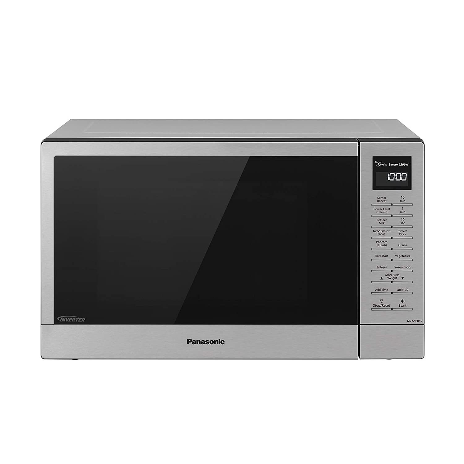 Panasonic Compact Microwave Oven with 1200 Watts of Cooking Power, Sensor Cooking, Popcorn Button, Quick 30sec and Turbo Defrost - NN-SN68KS - 1.2 cu. ft (Stainless Steel / Silver)
