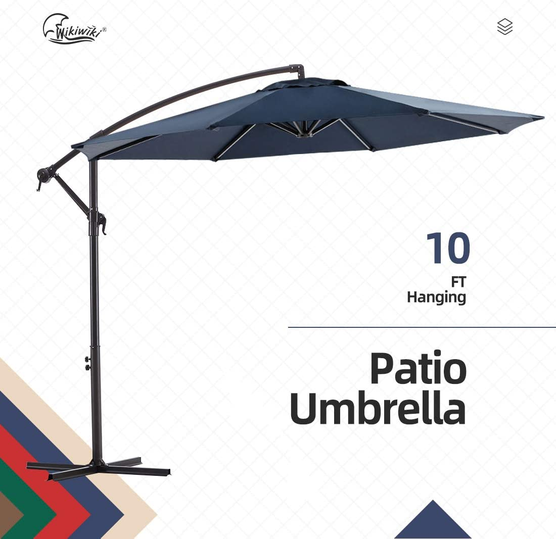 wikiwiki Offset Umbrella 10ft Cantilever Patio Umbrella Hanging Market Umbrella Outdoor Umbrellas with Crank & Cross Base