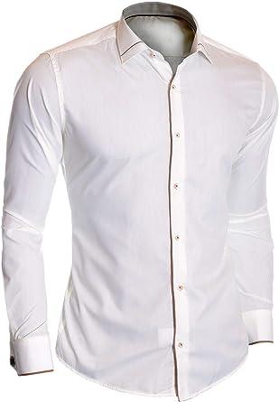 D&R Fashion Hombre Camisa de Vestir de Marfil Doble puños Gemelos Algodón Acabado marrón: Amazon.es: Ropa y accesorios