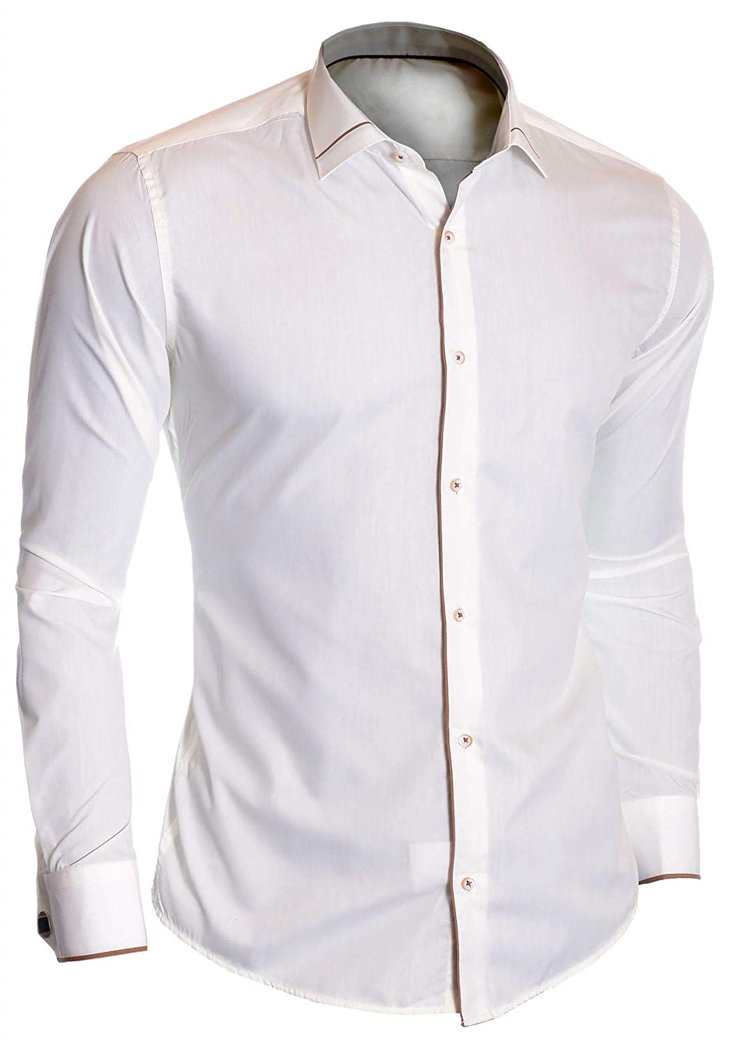 Mens Ivory Dress Shirt Double Cuffs Free Square Cufflinks Cotton