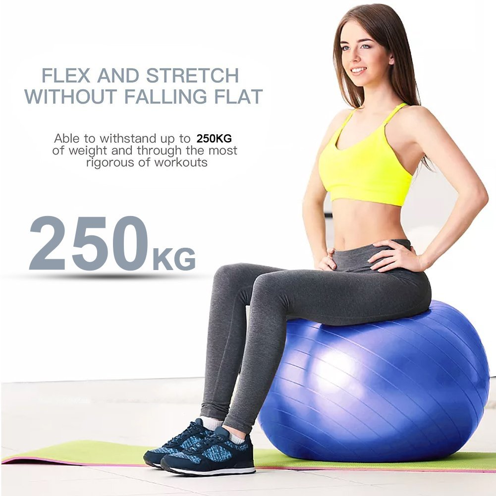 Lintelek Exercise Ball Quick Foot Pump, Professional Grade Anti Burst Stability Ball Yoga, Fitness, Balance, Core Strength, Work Chairs, Gym, Home (Black, 65 cm) by Lintelek (Image #4)