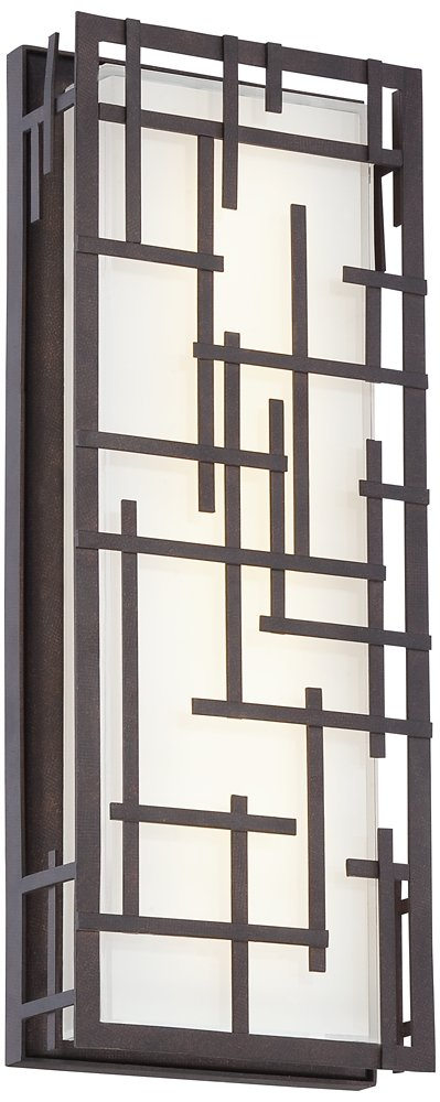 Possini Euro Modern Lines Bronze LED Outdoor Wall Light