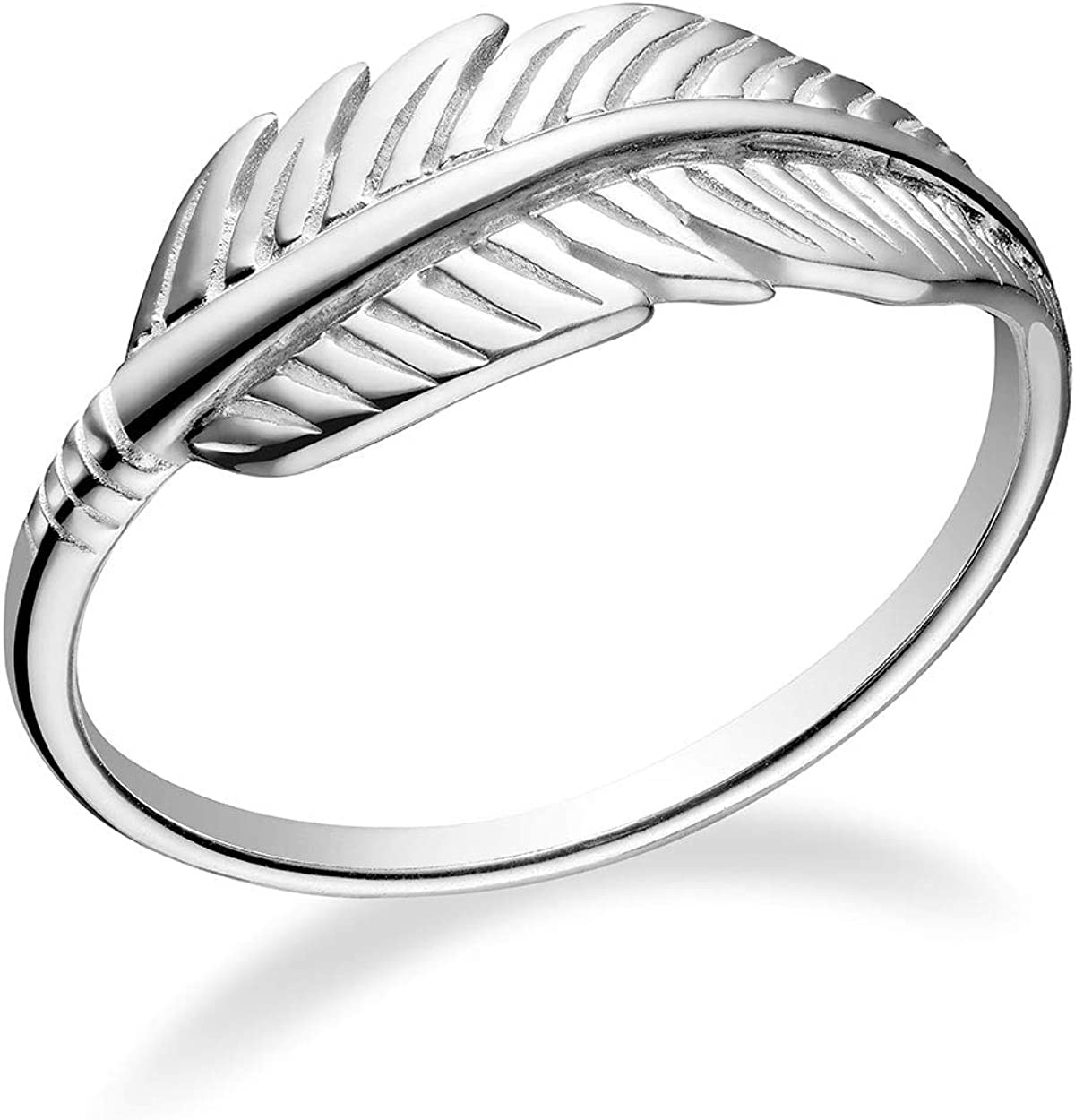 Sterling Silver Feather Silver925 Ring Gift For Her Women Ring Boho Ring white zirconium silver ring