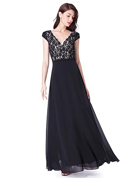 b073f18e58a Ever Pretty Women s V Neck A Line Lace-Embellished Elegant Empire Waist  Long Bridesmaid Dresses