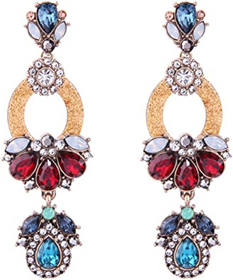 Chandelier Earrings  Blue Earrings  Handmade Earrings  Beaded Earrings  Garnet Earrings  Unique Earrings  Boho Earrings