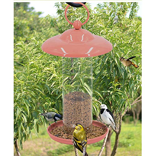 Wild Birds Feeders for Outside Squirrel Proof Stand, Pink,Villa/Garden Outdoor Decoration