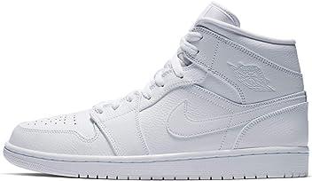 ef788269a4b Jordan 554724-129: Men's Air 1 Mid White/White/White Shoes