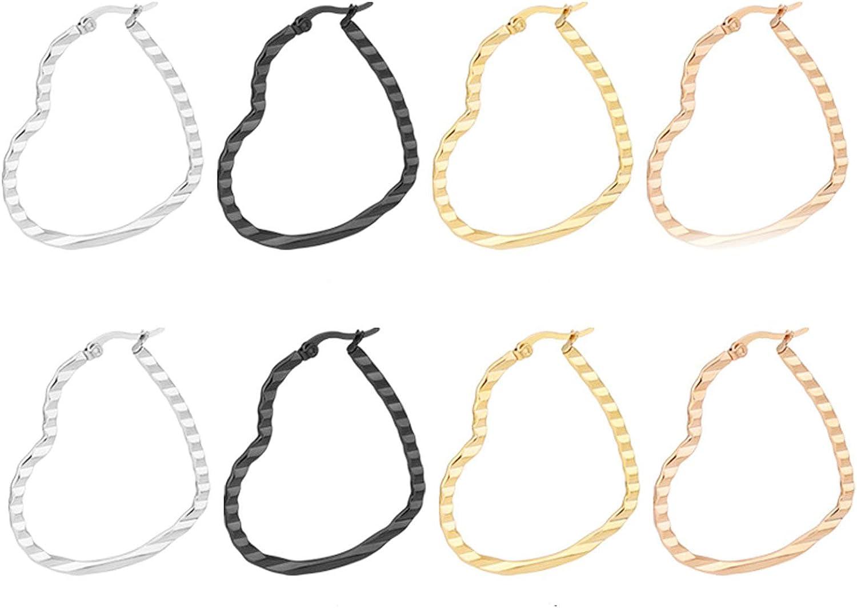 Daesar 4Pares Corazón Hueco 30/40/50MM Pendientes Aro Acero Inoxidable Mujer Multicolor